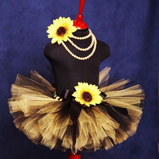 """Одежда для девочек, ручной работы. Ярмарка Мастеров - ручная работа. Купить """"Солнечный цветок"""" пышная юбка-пачка из фатина и комплект с. Handmade."""