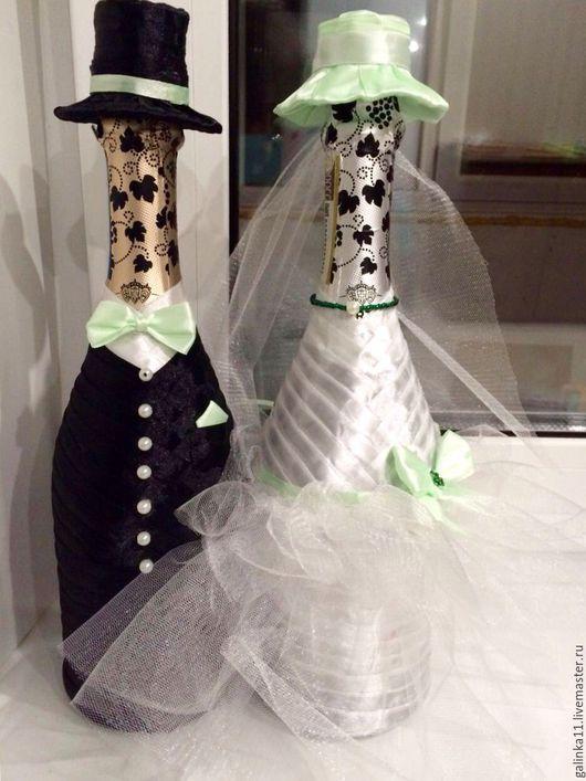 Свадебные аксессуары ручной работы. Ярмарка Мастеров - ручная работа. Купить Свадебные бутылки. Handmade. Мятный, свадьба, свадебные аксессуары