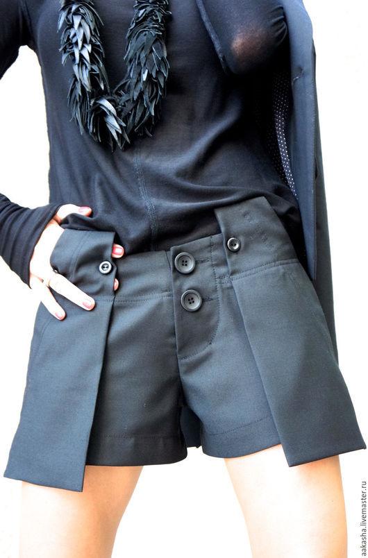 шорты короткие шорты из шерсти теплые шорты черные  экстравагантный стиль