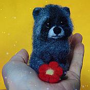 Куклы и игрушки handmade. Livemaster - original item Raccoon and flower. Handmade.