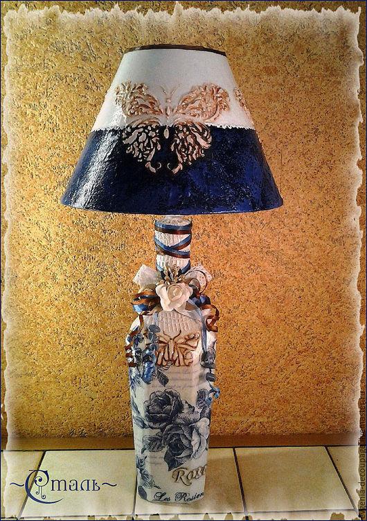 """Освещение ручной работы. Ярмарка Мастеров - ручная работа. Купить """"Синие розы"""" авторская лампа. Handmade. Синий, настольный светильник"""