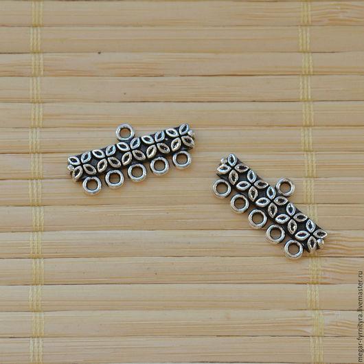 Для украшений ручной работы. Ярмарка Мастеров - ручная работа. Купить Коннектор (5-1) 25 мм. Handmade. Серебряный