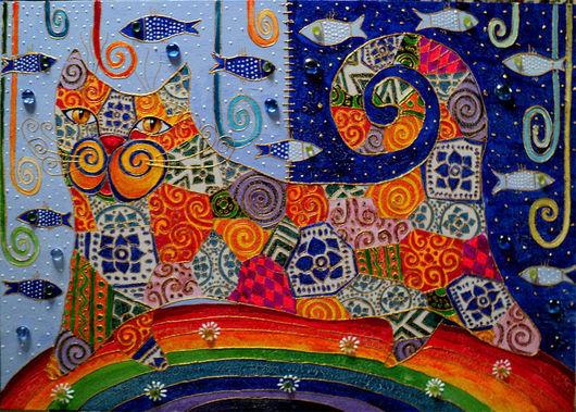"""Животные ручной работы. Ярмарка Мастеров - ручная работа. Купить Декоративное панно """"Прогулка по радуге"""". Handmade. Кошки, бусины стеклянные"""