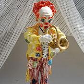 Для дома и интерьера handmade. Livemaster - original item Clown playing the trumpet.Porcelain figurine.. Handmade.