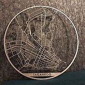 Фотокартины ручной работы. Ярмарка Мастеров - ручная работа Карта из дерева города Таганрог. серебристая. Handmade.