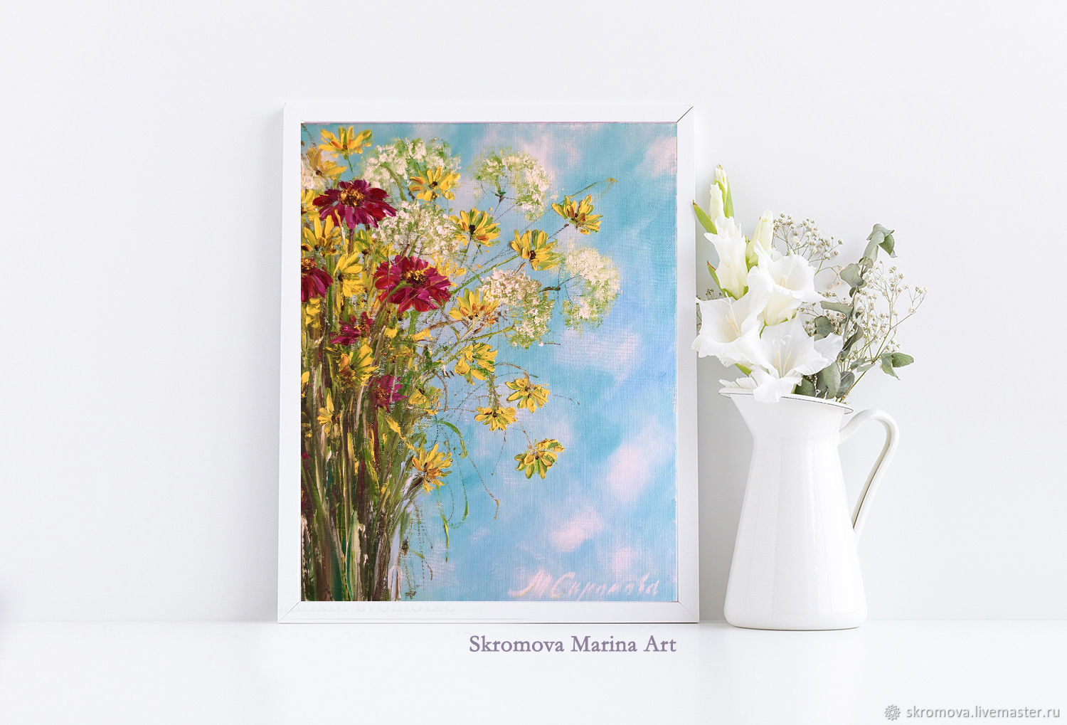 Oil painting with gerberas and calendula. Calendula flowers in oil, Pictures, Moscow,  Фото №1