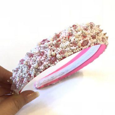 Украшения ручной работы. Ярмарка Мастеров - ручная работа Ободок розовый для волос из бисера,бусин,кристаллов. Handmade.