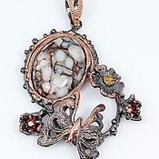 Beads1 handmade. Livemaster - original item Silver pendant in black gold with coral. Handmade.