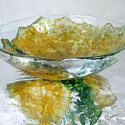 Посуда ручной работы. Ярмарка Мастеров - ручная работа Салатник из стекла Желтый лист, фьюзинг. Handmade.