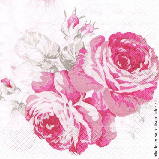 Декупаж и роспись ручной работы. Ярмарка Мастеров - ручная работа. Купить Розовые розы (CORO) 33х33 салфетка для декупажа. Handmade.