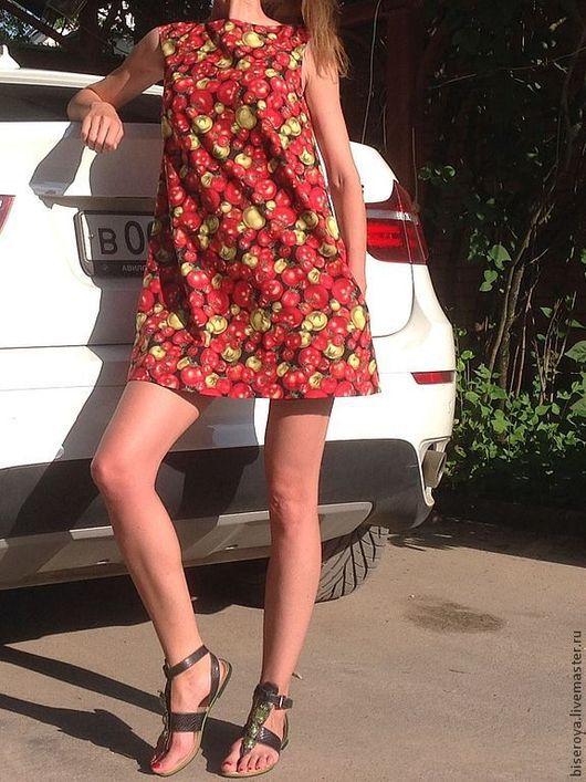 """Платья ручной работы. Ярмарка Мастеров - ручная работа. Купить Мини-платье трапеция """"помидоры"""". Handmade. Рисунок, хлопок 100%"""