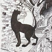 Картины и панно ручной работы. Ярмарка Мастеров - ручная работа Городской роман. Графика картина кошки город. Handmade.