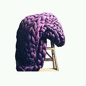 Для дома и интерьера ручной работы. Ярмарка Мастеров - ручная работа Модный Плед из мериноса Kozaa`s Bags 100x150 см, эксклюзив СИРЕНЬ. Handmade.