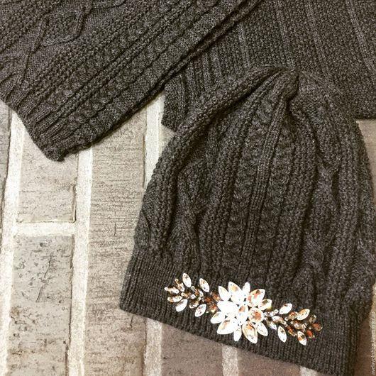 Шапки ручной работы. Ярмарка Мастеров - ручная работа. Купить Комплект шапка+шарф. Handmade. Темно-серый, зима 2016