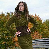 Одежда ручной работы. Ярмарка Мастеров - ручная работа Костюм вязаный женский свитер и юбка шерстяной Оливия. Handmade.