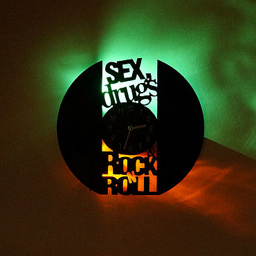 For home and interior handmade. Livemaster - original item Rock`n`roll illuminated wall clock. Handmade.