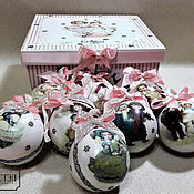 Подарки к праздникам handmade. Livemaster - original item Set of Christmas toys in a box,