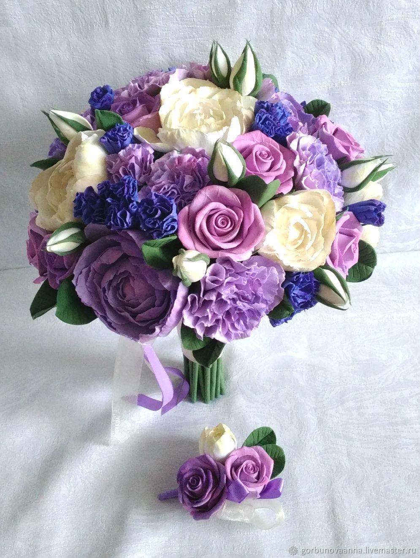 """Свадебные цветы ручной работы. Ярмарка Мастеров - ручная работа. Купить Букет невесты """"Ультрафиалет"""" из полимерной глины. Handmade. Невеста"""