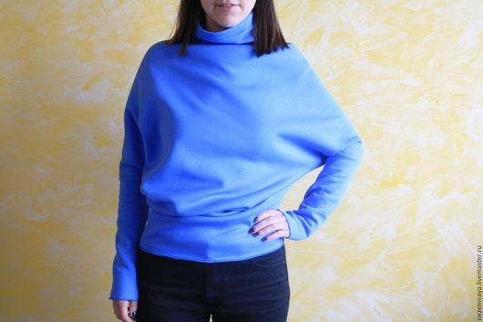 Кофты и свитера ручной работы. Ярмарка Мастеров - ручная работа. Купить Косой крой в голубом. Handmade. Голубой, свитер женский