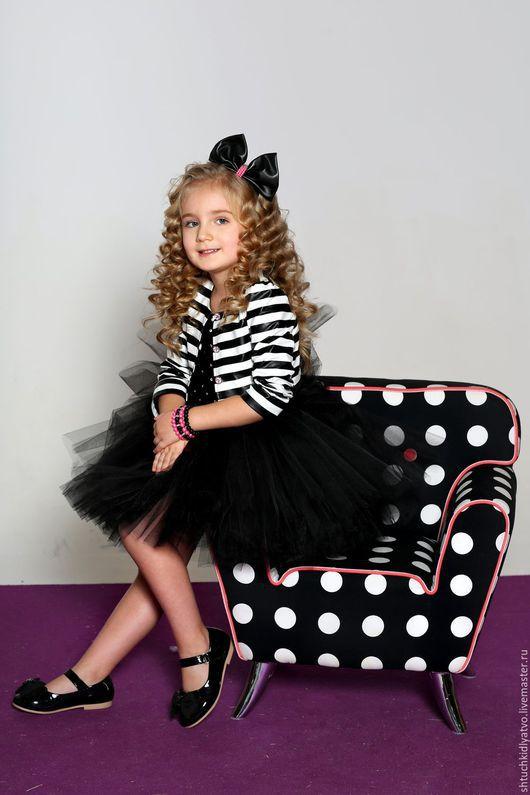 Одежда для девочек, ручной работы. Ярмарка Мастеров - ручная работа. Купить Авторское пышное платье с полосатым жакетиком. Handmade. Комбинированный