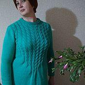 Одежда ручной работы. Ярмарка Мастеров - ручная работа Вязаное платье Бирюза. Handmade.