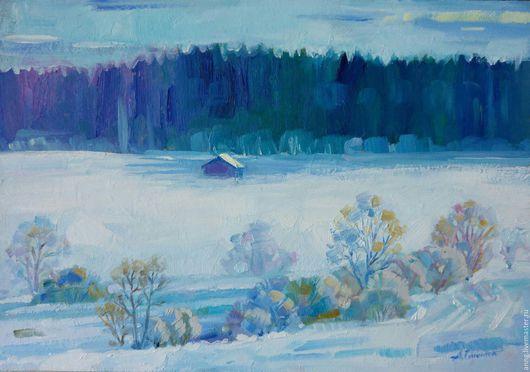 """Пейзаж ручной работы. Ярмарка Мастеров - ручная работа. Купить Картина маслом """"Зима"""", природа, зима, снег, лес, поле. Handmade."""