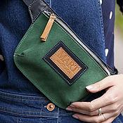 Сумки и аксессуары handmade. Livemaster - original item Green leather waist bag. Handmade.