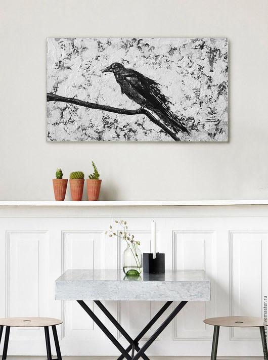 """Животные ручной работы. Ярмарка Мастеров - ручная работа. Купить Черно-белая картина """"Ворон"""". Handmade. Чёрно-белый, ворона"""
