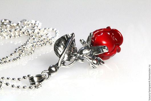Подарки для влюбленных ручной работы. Ярмарка Мастеров - ручная работа. Купить Серебряный кулон Алая роза - серебро 925 пробы подарок любимой. Handmade.