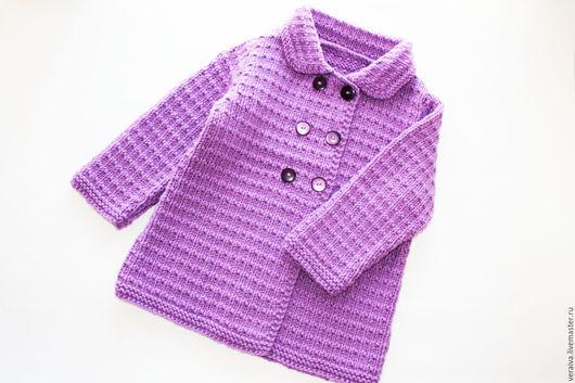 Одежда для девочек, ручной работы. Ярмарка Мастеров - ручная работа. Купить Пальто сиреневое для девочки. Handmade. Сиреневый, 50% акрил