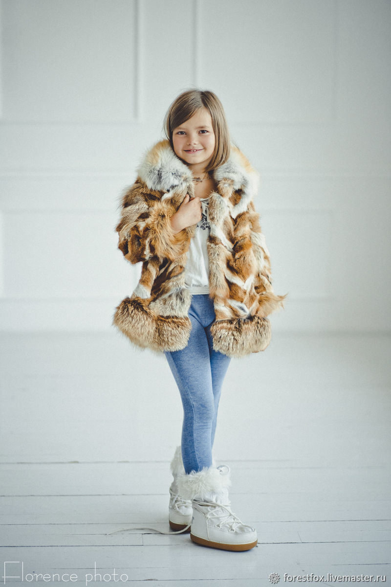 Fox fur kids jacket in red, Childrens outerwears, Moscow,  Фото №1