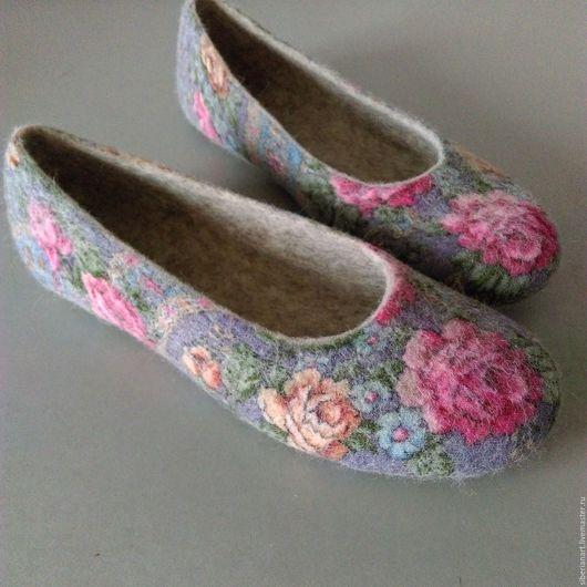 Обувь ручной работы.Тапочки валяные.Hand made.Валяные тапочки.100% шерсть.Купить тапочки валяные.