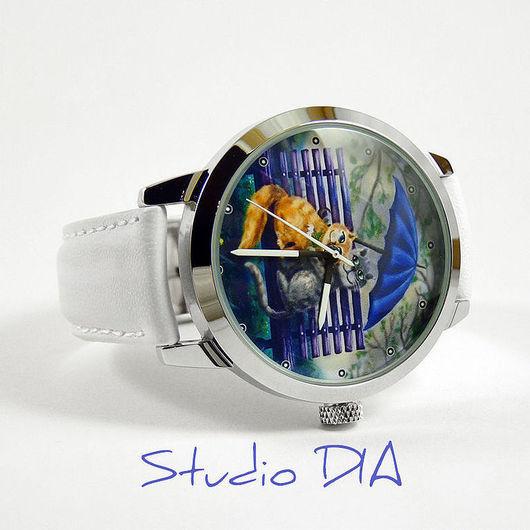 Оригинальные Дизайнерские Часы Киски Под Зонтиком. Студия Дизайнерских Часов и Кулонов DIA.