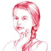 Картины и панно handmade. Livemaster - original item Portrait commissions from photo - red Derwent Inktense pencil.. Handmade.
