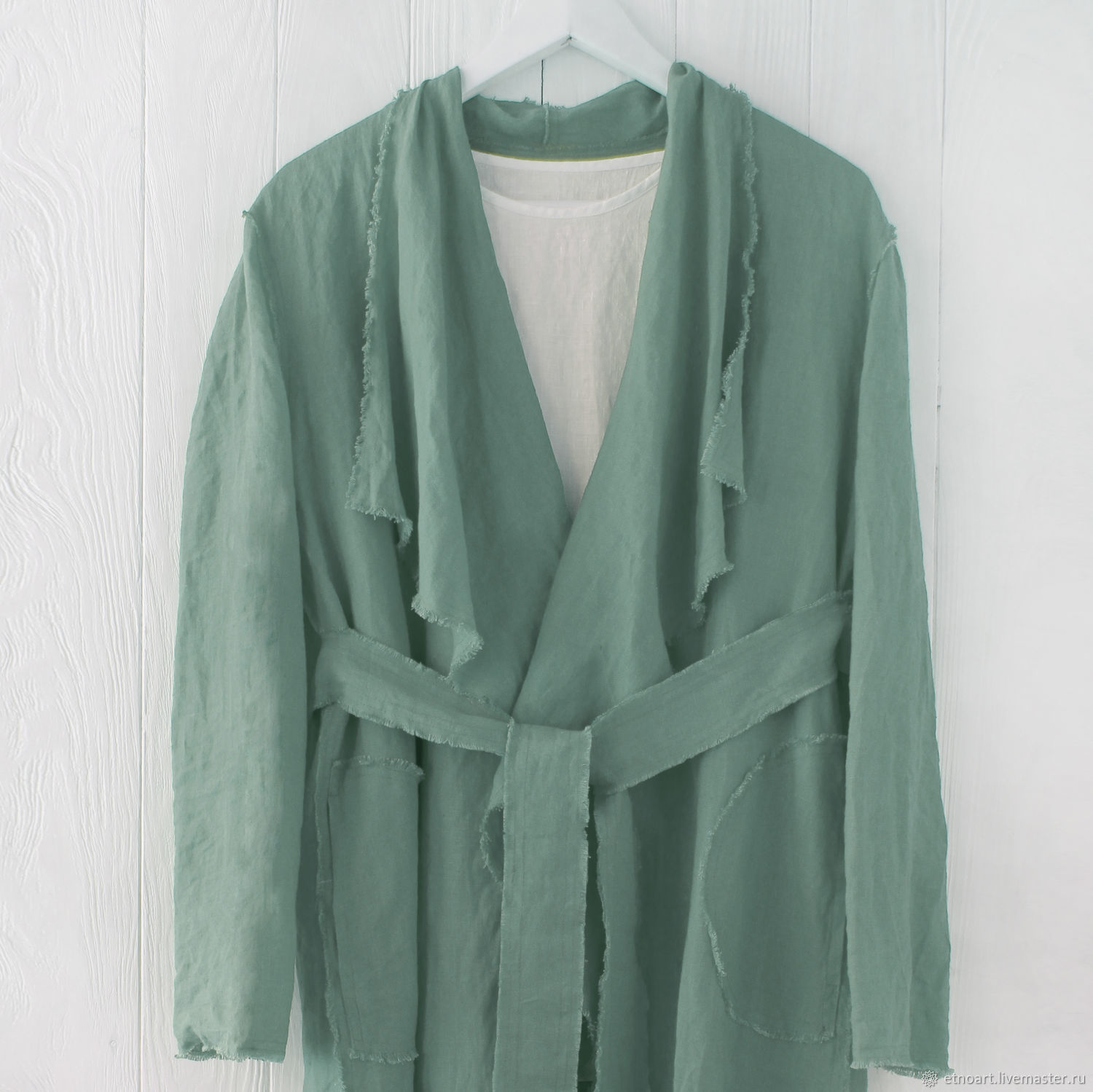 Linen cardigan with open edges and a belt, Cardigans, Tomsk,  Фото №1