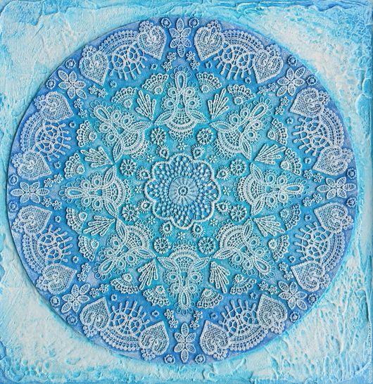 """Символизм ручной работы. Ярмарка Мастеров - ручная работа. Купить Мандала голубая """"Мечта"""". Handmade. Голубой, кружевное панно, символизм"""