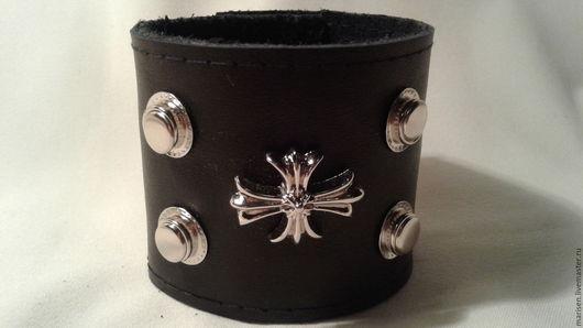 """Браслеты ручной работы. Ярмарка Мастеров - ручная работа. Купить Браслет кожаный """"Крест"""". Handmade. Черный, браслет из кожи"""