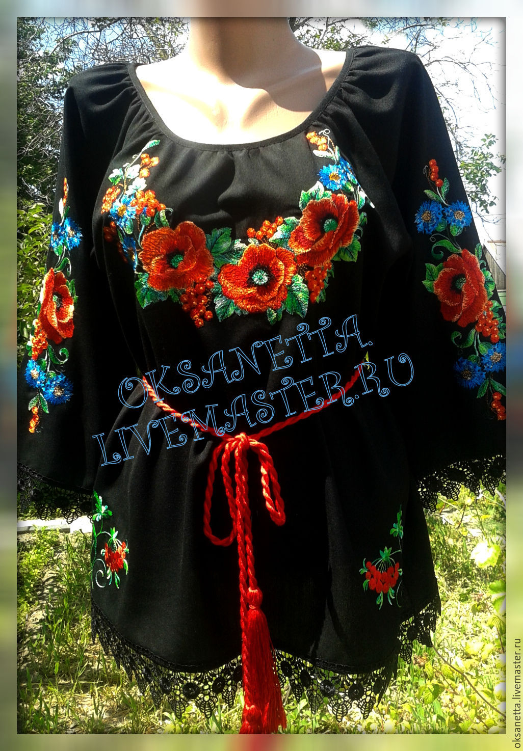 Ethnic Clothing handmade. Livemaster - handmade. Buy Blouse 'Red poppies'.Hand-made, floral, tunic, buy embroidery, lace