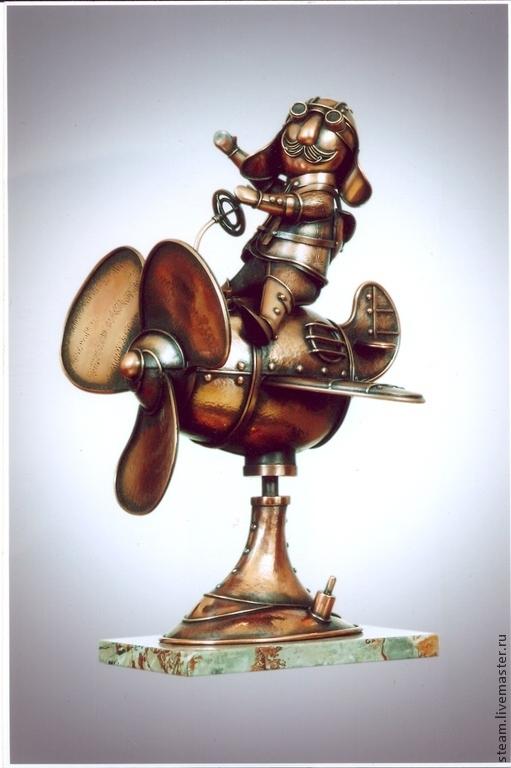 """Статуэтки ручной работы. Ярмарка Мастеров - ручная работа. Купить Медная скульптура в стиле стимпанк """"Авиатор"""". Handmade. Разноцветный"""