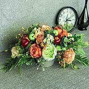 Композиции ручной работы. Ярмарка Мастеров - ручная работа Интерьерная композиция «В яблочко»,цветы с фруктами,яркие цветы. Handmade.