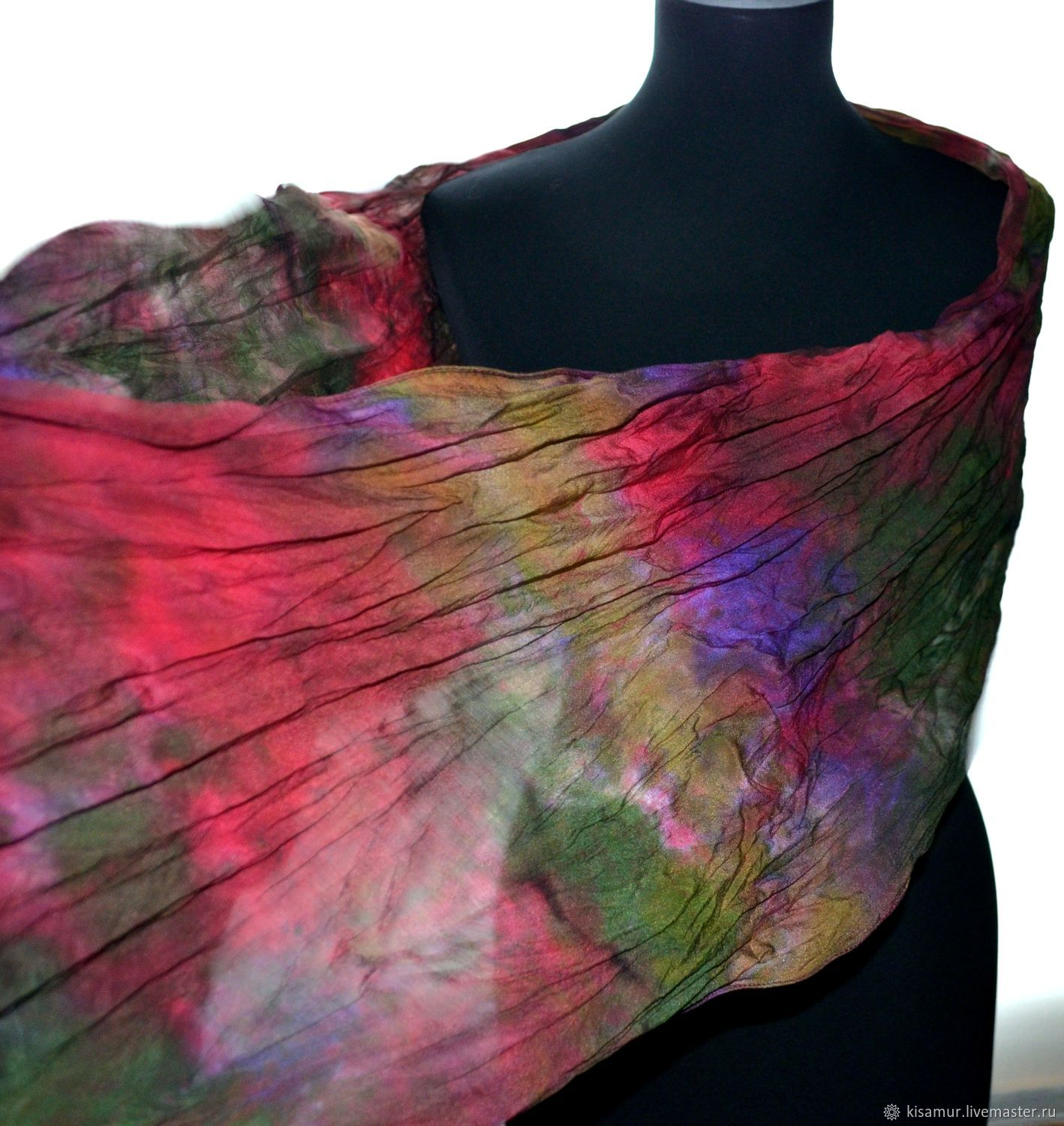 Scarf women silk multicolored crepe de Chine gift accessory, Scarves, Vyazma,  Фото №1