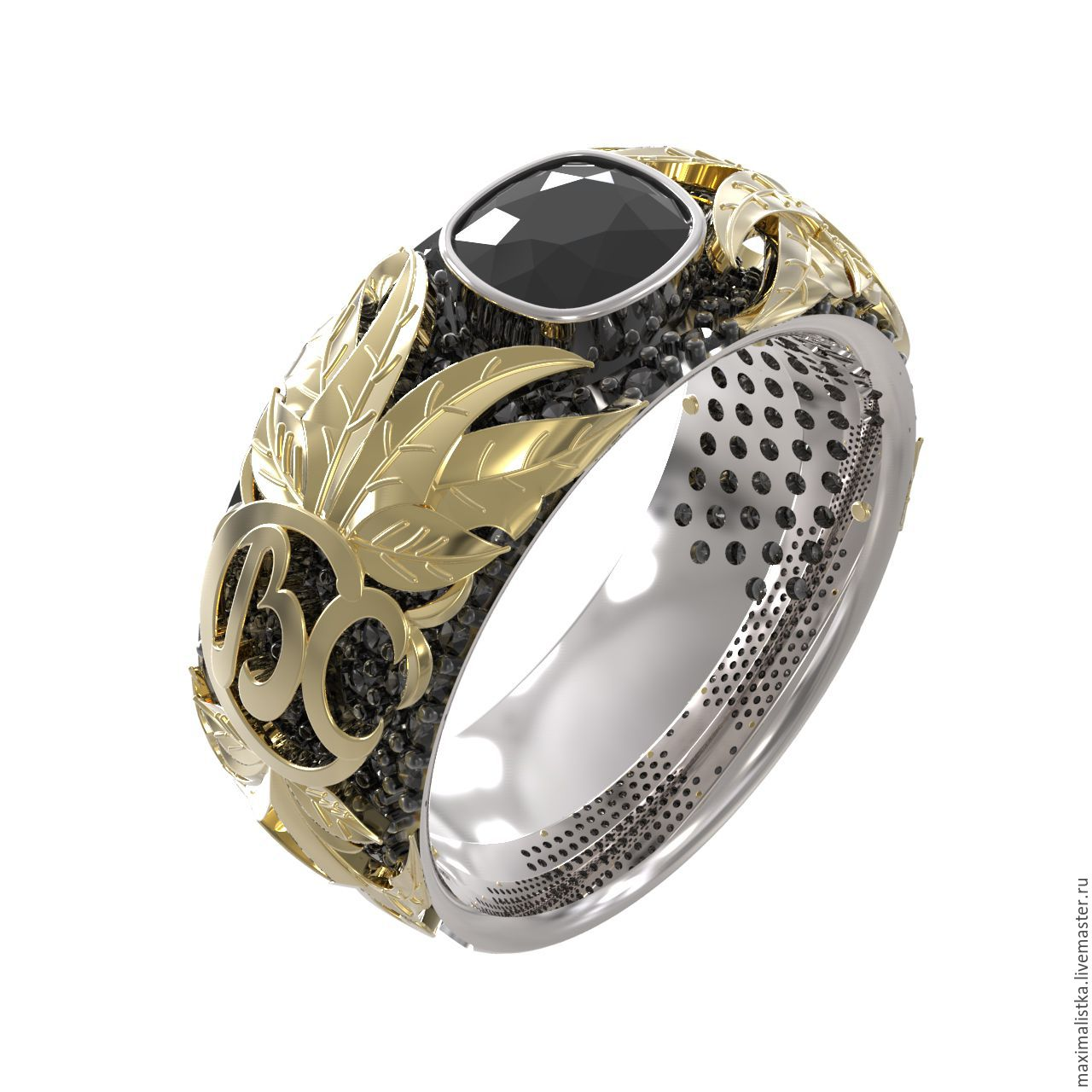 Gold ring 'neo-Baroque' black diamond, Ring, Moscow,  Фото №1