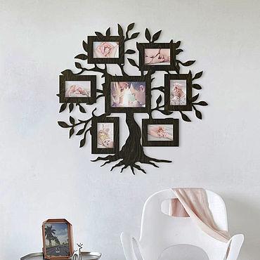 Для дома и интерьера ручной работы. Ярмарка Мастеров - ручная работа Фоторамка из дерева Семейное Дерево, 83х83 см. Handmade.