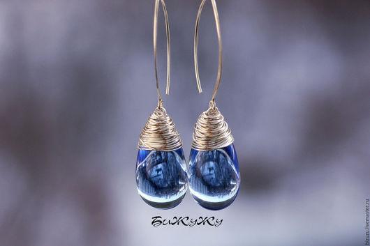 """Серьги ручной работы. Ярмарка Мастеров - ручная работа. Купить Серьги """"Росинка"""". Handmade. Голубой, подарок женщине, стильное украшение"""