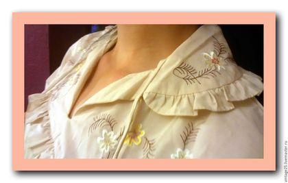 Одежда. Ночная рубашка батист с вышивкой НОВАЯ. Чердак старого дома (vintage25). Интернет-магазин Ярмарка Мастеров. Ночная рубашка