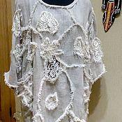 Одежда ручной работы. Ярмарка Мастеров - ручная работа Туника изо льна а ля обшарпе. Handmade.