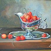 Картины и панно ручной работы. Ярмарка Мастеров - ручная работа Черешня в серебряном соуснике. Handmade.
