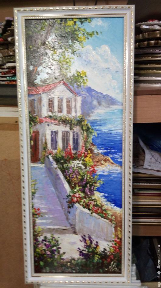 Картины цветов ручной работы. Ярмарка Мастеров - ручная работа. Купить Картина рисованная маслом Города, в багете 85х35см. Handmade.
