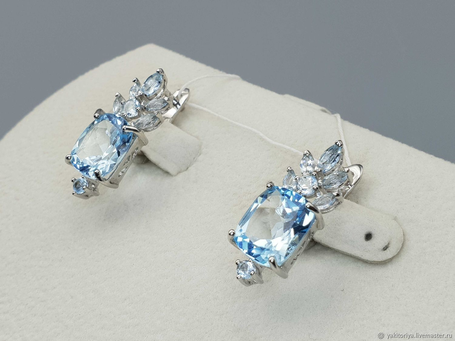 silver earrings with Topaz stones, Earrings, Moscow,  Фото №1