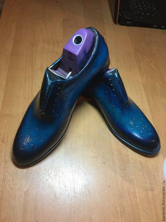 Обувь ручной работы. Ярмарка Мастеров - ручная работа. Купить m.k.Shoes hand made. Handmade. Тёмно-синий